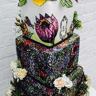 Secret Garden Stain Glass Whimsey FairyTale Frills Cake
