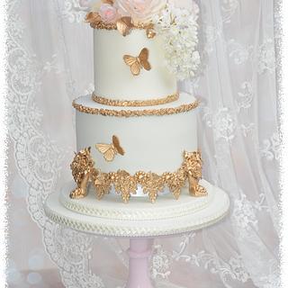 golden wedding anniversay cake