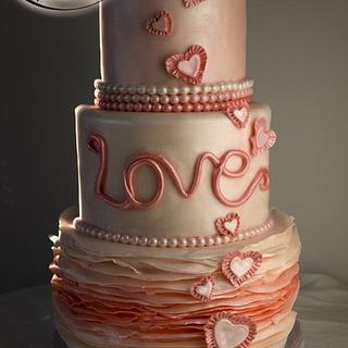 Valentine's ruffles - Cake by Komel Crowley