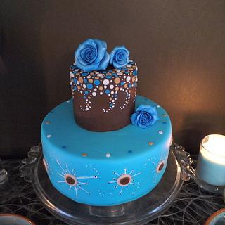 Blue and brown cake