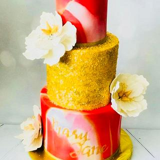 Marbled fondant themed with peony and