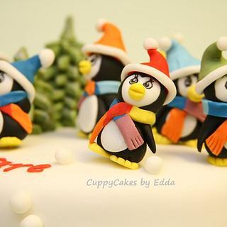 7 dancing rainbow penguins
