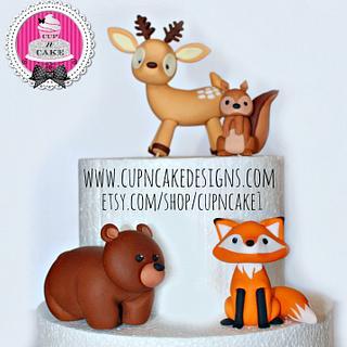 Woodland animals fondant cake toppers