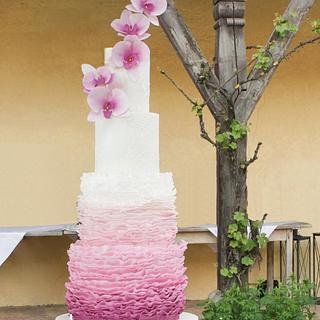 Purple Orchid Wedding Cake