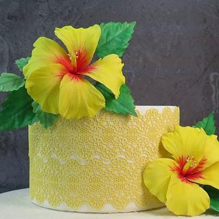 Yellow hibiscus & lace cake MBalaska 8-6-2018 - Cake by MBalaska
