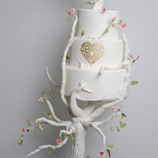 Tree love wedding cake