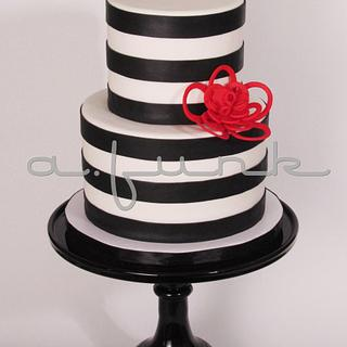 Bold Stripes & Whimsy Flower  - Cake by afunk