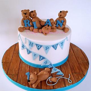 Teddy bears and bunting 1st birthday cake