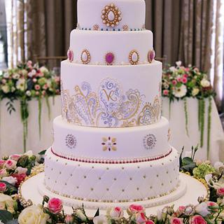 Jewel encrusted wedding cake
