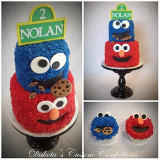 Sesame Street Birthday Cake and Cupcakes - Cake by Dakota's Custom Confections