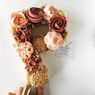 """P""retty Cupcake Monogram  - Cake by Sophia Mya Cupcakes (Nanvah Nina Michael)"