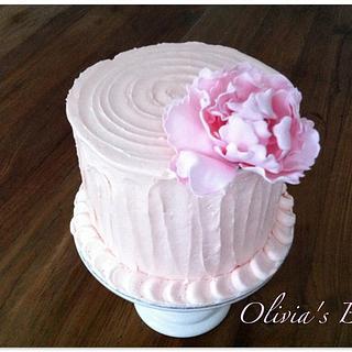 Peony Buttercream Cake - Cake by Olivia's Bakery