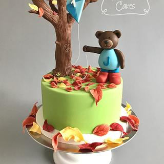 Autumn / Fall Teddy Bear 1st Birthday Cake
