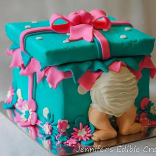 Baby Shower Gift Box Cake - Cake by Jennifer's Edible Creations