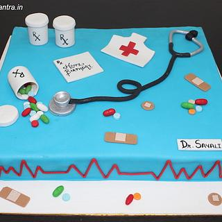 Doctor theme designer cake with 3D stethoscope
