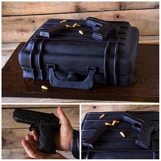 Gun Case Cake with Edible Glock 9mm Gun, Clip & Bullets