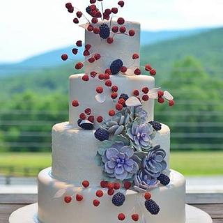 Raspberry Blackberry Succulent Wedding Cake