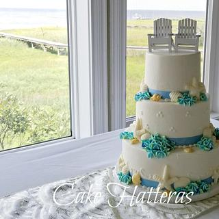 A beach Wedding Cake with Buttercream Hydragnea