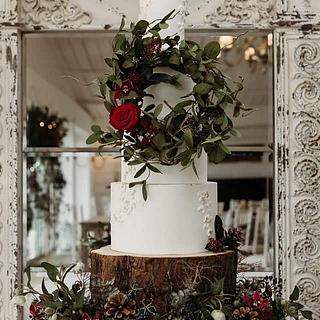 Rustic winter wedding cake