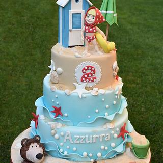 Masha and the Bear on vacation - Cake by Dolcidea creazioni