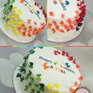 Rainbow butterflies cake