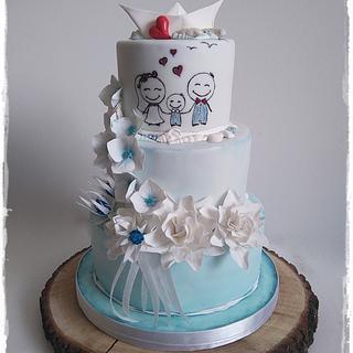 Light blue wedding cake