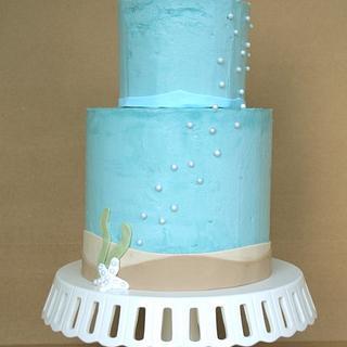 White Whale Baby Boy Shower Cake
