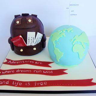 Globe and Rucksack cake
