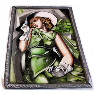 """""""Jeune fille aux gants"""" (Tamara De Lempicka) - hand painted cake topper"""