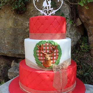 Rustic Wedding cake with deerhead