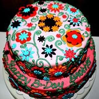gerbera and Daisy cake