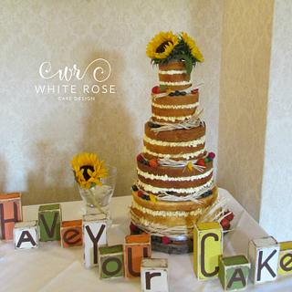 Five Tier Naked Wedding Cake with Sunflowers