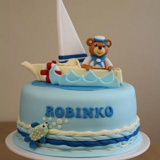 Bear Sailor Is Coming Home - Cake by Karina Skotkova