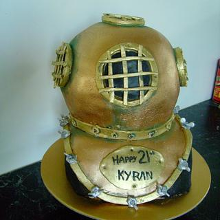 old school dive helmut - Cake by Thereseanne