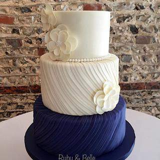 Navy & Ivory Silk Pleats - Cake by Ruby & Belle Cakes