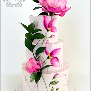 Painted Magnolia Wedding - Cake by Nessie - The Cake Witch