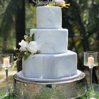 Gray Marbled Wedding Tiers