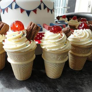 Ice cream cone cupcakes for jubilee cake