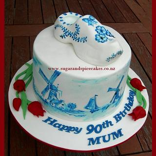 Going Dutch - Hand painted Delft Pottery Cake