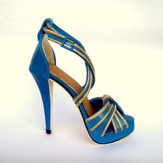 Blue and gold sugar stiletto