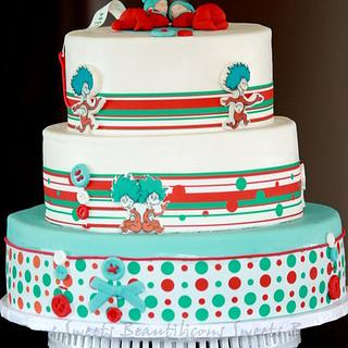 Dr. Seuss - Thing 1 and Thing 2 Baby Shower Cake