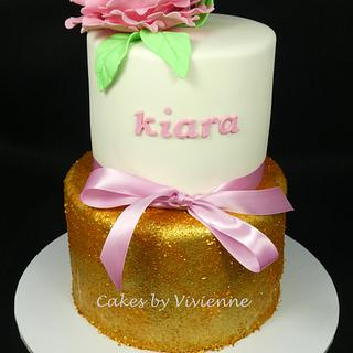 Gold Glitter Birthday Cake - Cake by Cakes by Vivienne