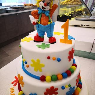Clown topper cake