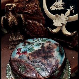 Painted Bear Cake / Hunter Cake - Cake by EmyCakeDesign