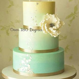 Ombre meringue buttercream cake