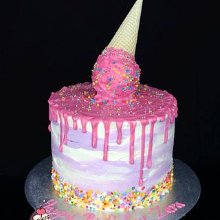 Upside Down Ice cream cake