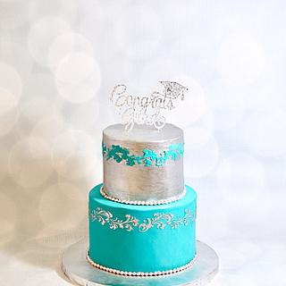 Teal and silver cake