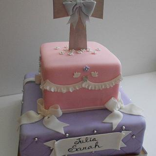 """S & J"" 1st Communion Cake"