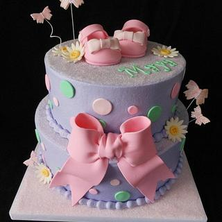 Pink and Purple buttercream baby shower cake