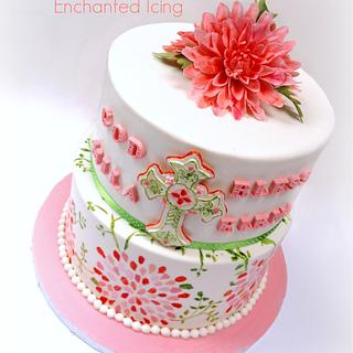 Christening cake with dahlias - Cake by Enchanted Icing